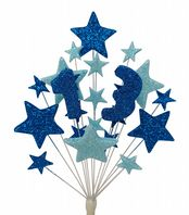 Number age 13th birthday cake topper decoration in shades of blue - free postage
